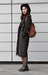 Cristina C - New Look Black Fedora, River Island Man Coat, Spain Markets Leather Tan Bag, Thrifted Boots - Man Coat