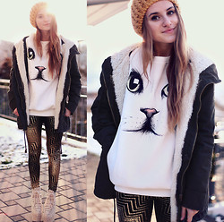 Jessica Christ - Chic Wish Cat Face White Sweater, Popcouture Justice Gold Print Geometric Leggings, Vj Style Lace Heels, Mango Parka - Cat Sweater