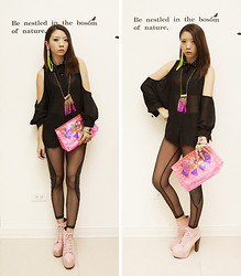 Violet Chang - Black Chiffon Shirt, Jeffrey Campbell Baby Pink Suede Lita - Independence