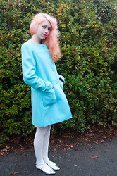 Kailey Flyte - Target Blue Coat, Forever 21 White Diamond Tights, Asos Silver Flats - Frosti