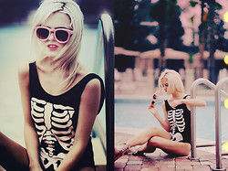 Rachel Lynch - Wildfox Couture Juliet Sunglasses, Wildfox Couture Skeleton Swimsuit, Unif Mermaid Pink Hellbounds -   the sweetness