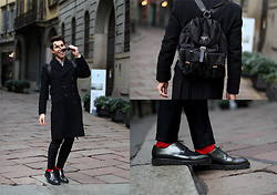 Filippo Fiora - Prada Backpack, Burberry Coat - Prada backpack and red socks!