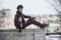 Bobby Raffin - Romwe Psychedelic Jacket, Diy Shreaded Jeans, Black Market Combat Boots - PSYCHEDELIC EVENINGS  // GIVEAWAY!