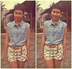 Christelle Mae Dacalus - Forever 21 Geometric Shorts, Oxygen Brown Belt, Sm Department Store Denim, Anagoncollection Pussycat Ears Headband - Hi I`m a cat! Meow :3