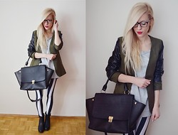 Aneta M - Striped Leggings, Bag, Blazer With Leather Sleeves - MILITARY JACKET + STRIPES /// big ROMWE giveaway !