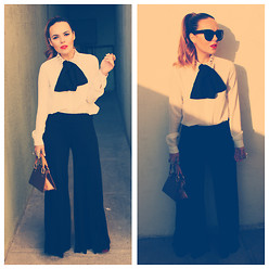 Andrea Maria PM - Bcbg Bow, Louis Vuitton Lv Purse, Forever 21 Studded Shirt, Express Black Elephant Pants, Céline Audrey - Black&White