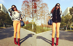 Julius Zhu - Tiger Sweater, Wego Black Jacket, Forever 21 Orange Pants, Isabel Marant Burgundy Boots, Tapenade Navy Bag, Chloé Sunglasses - My future is waiting for me