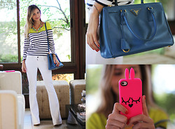 Luisa Accorsi - J.Crew T Shirt, Prada Bag, Marc By Jacobs Iphone Case - Neon
