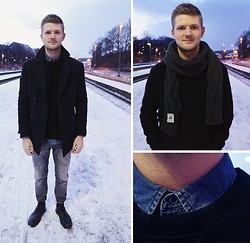 Lasse R. Rasmussen - Zara Peacoat, Cos Denim Shirt, Acne Studios Inside Out Sweatshirt, Day Birger Et Mikkelsen Jeans, Dr. Martens Boots, S.N.S Herning Knit Scarf - Nightcall