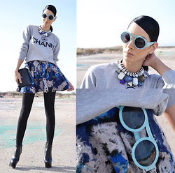Konstantina Tzagaraki - Choies Sweatshrt, Chic Wish Skirt, Romwe Necklace, Zerouv Sunglasses - Blue..