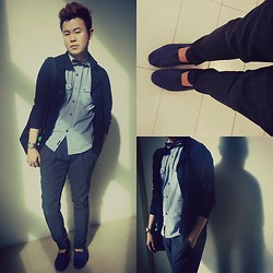 Anthony Shieh - Boytoy 10 Buttoned Black Cardi, U2 Blue Comfy Shirt, Armando Caruso Bowtie, Oxygen Low Crotch Slacks, Toms Blue Espadrilles, Street Is The Stage Sling Bag, Fossil Sapphire Studded Wristwatch - Just let your heart say what you can't say.