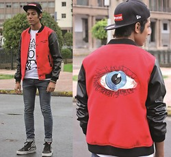 Hamza Ryø' - Supreme, Choies Jackette, To The Black, H&M Jeans, Aldo, Vans - Mysterious eye and see everyone