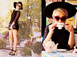 Emily High-Fash - H&M Wide Brim Hat, Nasty Gal Eyelet Lace Dress, Nasty Gal Triangle Wedge Sandals, Matt & Natt Clutch, Betsey Johnson Sunnies - The Fairest of the Seasons