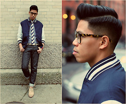 Anthony Urbano - Golden Bear Varsity Jacket, Warby Parker Mallory Eyeglasses, A.P.C. Denim, Florsheim Suede Oxfords - Varsity Blues