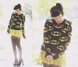 Kalindy W - Batman Sweater, House Of Holland Suspense Tights, Pencils Mustard Yellow Sheer Dress, Black Buckle Wedges - I wear a mask.