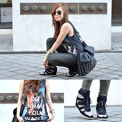 Kat M - Promod Wedge Sneakers, Forever 21 Bag, Zara Shirt - Grungy