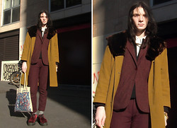 Romain Le Cam - Lanvin Dark Red Wool Jacket, Topman Dark Red Wool Trousers, Vintage Stockholm White Cotton Shirt, Grandma's Beaver Fur And Wool Coat, Dr. Martens Dark Red Velvet Creepers, From Band Wild Nothing Marbled Tote Bad - Paris Men Fashion Week