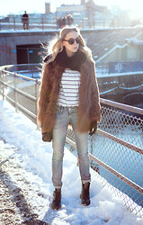 Martina M. - Asos Fur, Levi's® Curve Id Jeans, Whyred Stripe Top, Dr. Martens Boots - By The River.