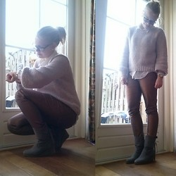 Joanne Fairytale - H&M Blouse, H&M Sweater, Oozoo Watch, Vero Moda Pants, Scapino Boots - Look! It's wintertime!