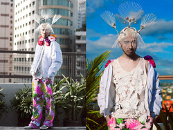 Andre Judd - H. Custodio Oversized Parka With Floral Hood, H. Custodio Floral Wide Leg Trousers, Mirror Patent Cutout Slip Ons, H. Custodio Floral Cutout Tank, H. Custodio Fan Headpiece - FLORANOPOLIS
