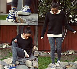 Cecilia R. - Forever 21 Black & White Sweater, Converse Blue, American Apparel Leggings - I'm Just Going Back Home.