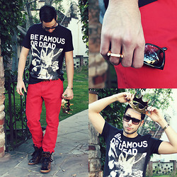 Reinaldo Irizarry - Les Benjamins Shirt, H&M Jeans, Michael Kors Sneakers, Mango Belt, Marc By Jacobs Sunglasses, Vintage Thrifted Bracelet, Third Crown Ring - BE FAMOUS OR DEAD
