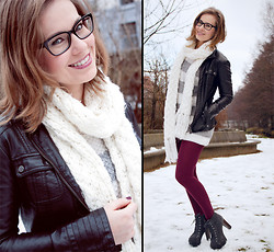 Emma SK - C&A Fake Leather Jacket, Pimkie Knit Sweater, Primark Oxblood Tights, 5th Avenue Platform Boots - Snow Patrol