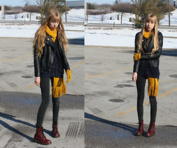 Audrey Riley - Forever 21 Mustard Scarf & Gloves, Dr. Martens Cherry Red Doc, Urban Outfitters Blue Cardigan - Pockets full of Primary