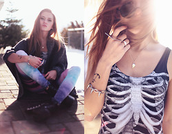 Jessica Christ - Black Milk Clothing Ribs Swimsuit, Necessary Clothing Blast Off Leggings, Yes I Fashion Rivets Boots, Dcer Fake Tattoo, Backstage Spike Bracelet, Backstage Ring, Backstage Ring, Giantvintage Sunglasses - ''Give me nylon or give me death.'' - Black Milk Clothing