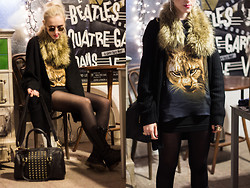 Saba D - Brylove Sunglasses, H&M Fur Collar, H&M Oversized Cardigan, H&M Bag, Stradivarius Boots, Zara Printed Silk Top - Meow