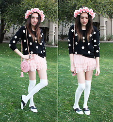 Allie Finch - Diy Rose Crown, Forever 21 Black Polka Dot Sweater, Pink Purse, Forever 21 Tutu Skirt, Forever 21 Knee High Socks, Urban Outfitters Two Toned Saddle Oxford - Pretty Pink