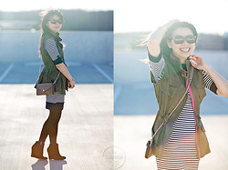 Melanie Y - Sam Edelman Wedge Booties, Rebecca Minkoff Wallet On Chain, Forever 21 Sweater Dress, Forever 21 Utility Vest, Warby Parker Sunnies - Utility Vest & Striped Sweater Dress
