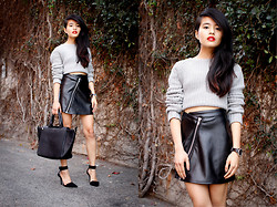 Olivia Lopez - Alexander Wang Cropped Sweater, Motel Leather Skirt, Alexander Wang Liya Pumps - Wicked as a Joyride Jaunt