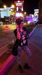 Heath N - American Apparel Zebra Leggings, Toxic King Diamond Shirt, Urban Outfitters Studded Purse, Studded/Spiked Bracelets, Top Hat, Dr. Martens Doc - Hail to the King!