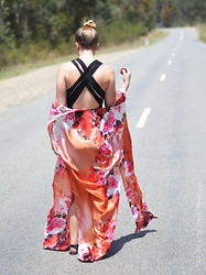 Jackie Steen - White Lily Red Rose Horizon Maxi Cape, Asos Little Black Dress - Horizon Maxi Cape $70