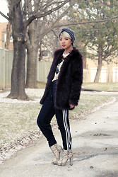 Dani Roche - H&M Faux Fur Coat, Adidas Trackpants, Tinley Road Shoes, Necklace, Aritzia Turban - Sassy trackpants