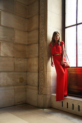 Luisa Accorsi - Bcbg Jumpsuit, Céline Bag - Lady in Red