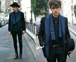 "Matthias C. - Uniforms For The Dedicated Wool Blazer, Givenchy Pants, Surface To Air Hat, Vintage Scarf, Boots & Tie Tack, Rykiel Homme Sweater - ""Oceanos"""
