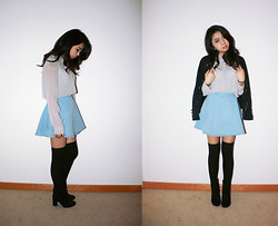 Jasmine S - Sheer Button Up, American Apparel Denim Circle Skirt, H&M Suede Witch Boots - Light of my life, fire of my loins
