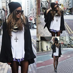 Christing Chang - One Teaspoon Kimono, One Teaspoon Shorts, Unif Hellrasiers, Topshop Beanie, Céline Sunglasses - Falling into place