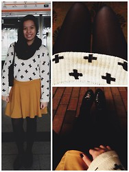Bea Marquez - H&M Infinity Scarf, H&M Sweatshirt, Cotton On Skirt, Thrifted Tights, Forever 21 Creepers - A WHOLE NEW WORLD