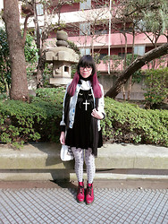 Nicole Ngaise - Nadia Flores En El Corazon Denim Jacket, Nadia Flores En El Corazon Cat Dress, Avantgarde Harajuku Geometric Tights, Dr. Martens Boots, American Apparel Tote - Chilly