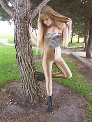 Lauren Stamer - American Apparel Striped Strapless Bodysuit, American Apparel Gold Disco Pants, Jeffrey Campbell Big Lita - Come on baby, let's ride.