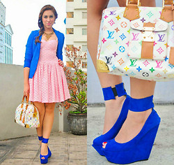 Neeresh Das - Das Das14 Blue, Love Pink Corset Dress, Louis Vuitton Speedy Muliticolor - Cupcake & Macaroons