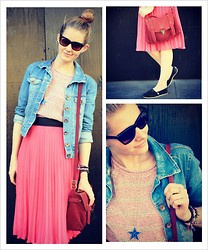 Hayley (FashionAndMe) - Toms Shades, H&M Pleat Skirt, Toms Pumps, Bershka Denim Jacket, River Island Light Knitted Jumper - Welcome to Hollywood! What's your dream?