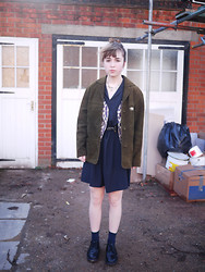 Alice B - Cos Shirt Dress, Cos Silk Socks, Vintage Suede Jacket, Vintage Waistcoat - The Coolerator was Crammed with TV Dinners and Ginger Ale