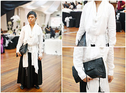 Juan Lorenzo - Unisex Rewind Draped Button Down, Unisex Rewind Hakama, Nereku Clutch Bag, Mundo Cut Out Shoes - CONTEMPORARY SAMURAI