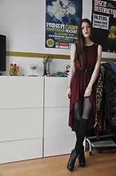 Laura R. - Atmosphere Studded Shoulder Dress, H&M Belt, Knee Highs, Special Edition Boots, Gina Tricot Spike Bracelet - Burgundy