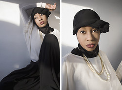 Jessica - New York & Company Ruffled Blouse, Thrift Palazzo Pants, Hijab - Pearls in 1920