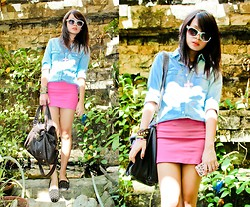 Katrina C. - Forever 21 Top, Zara Bodycon Skirt, Topshop Studded Flats, Topshop Bag - Denim kind of Sunday